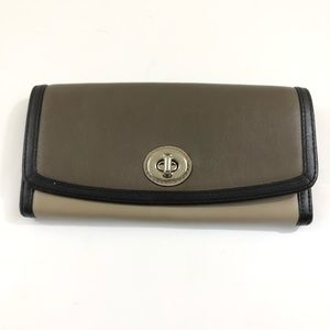 Coach Multi Color Leather Wallet Toggle Closure